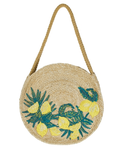 Monsoon Laila Lemon Round Straw Shoulder Bag