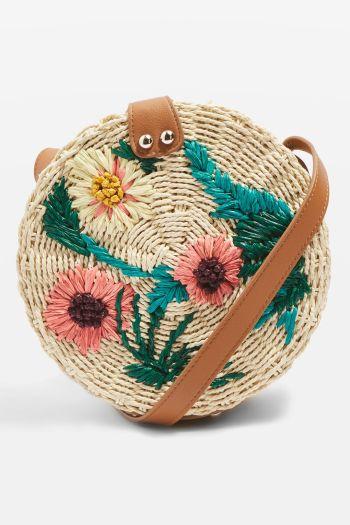 Topshop Britney Floral Straw Crossbody Bag