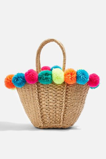 Topshop Multi Pom-Pom Straw Bag