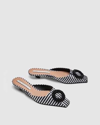 Zara Striped Kitten Heel Mules