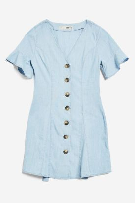 Horn Button Flippy Denim Dress