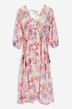 Eyelet Chiffon Floral Midi Dress