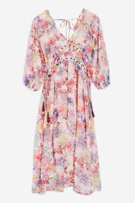 Eyelet Chiffon Floral Midi Dress