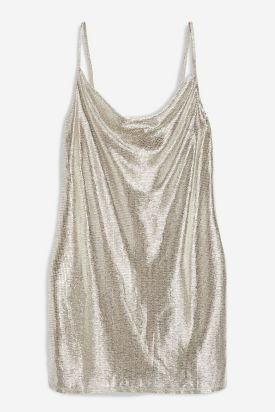 Foil Cowl Mini Dress