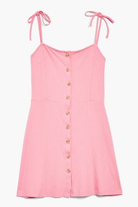 Button Ribbed Mini Dress