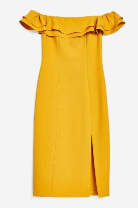 Ruffle Bardot Midi Dress