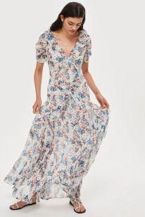 Spot Floral Bead Maxi Dress